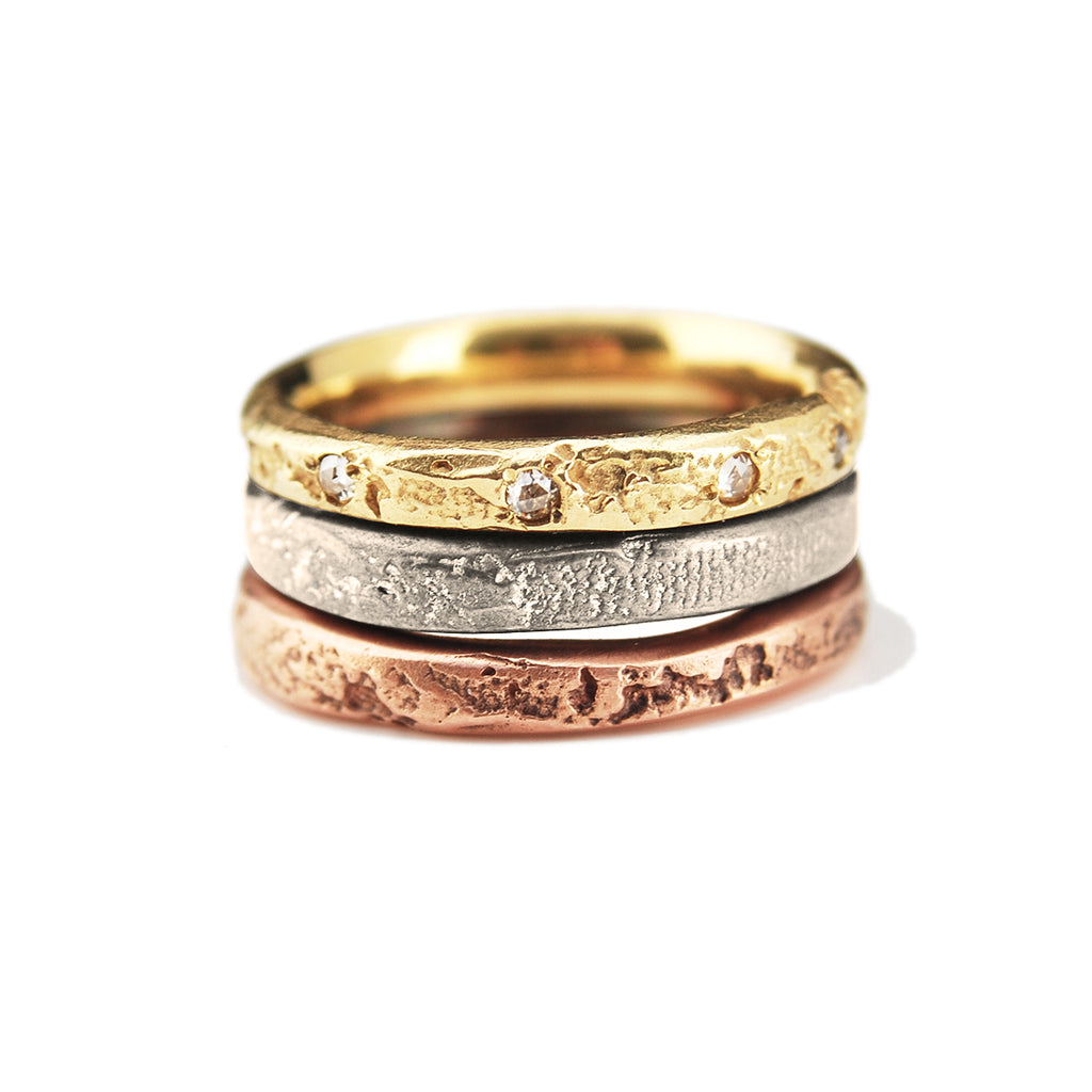 3mm Silk Textured Ring, 14k Rose Gold