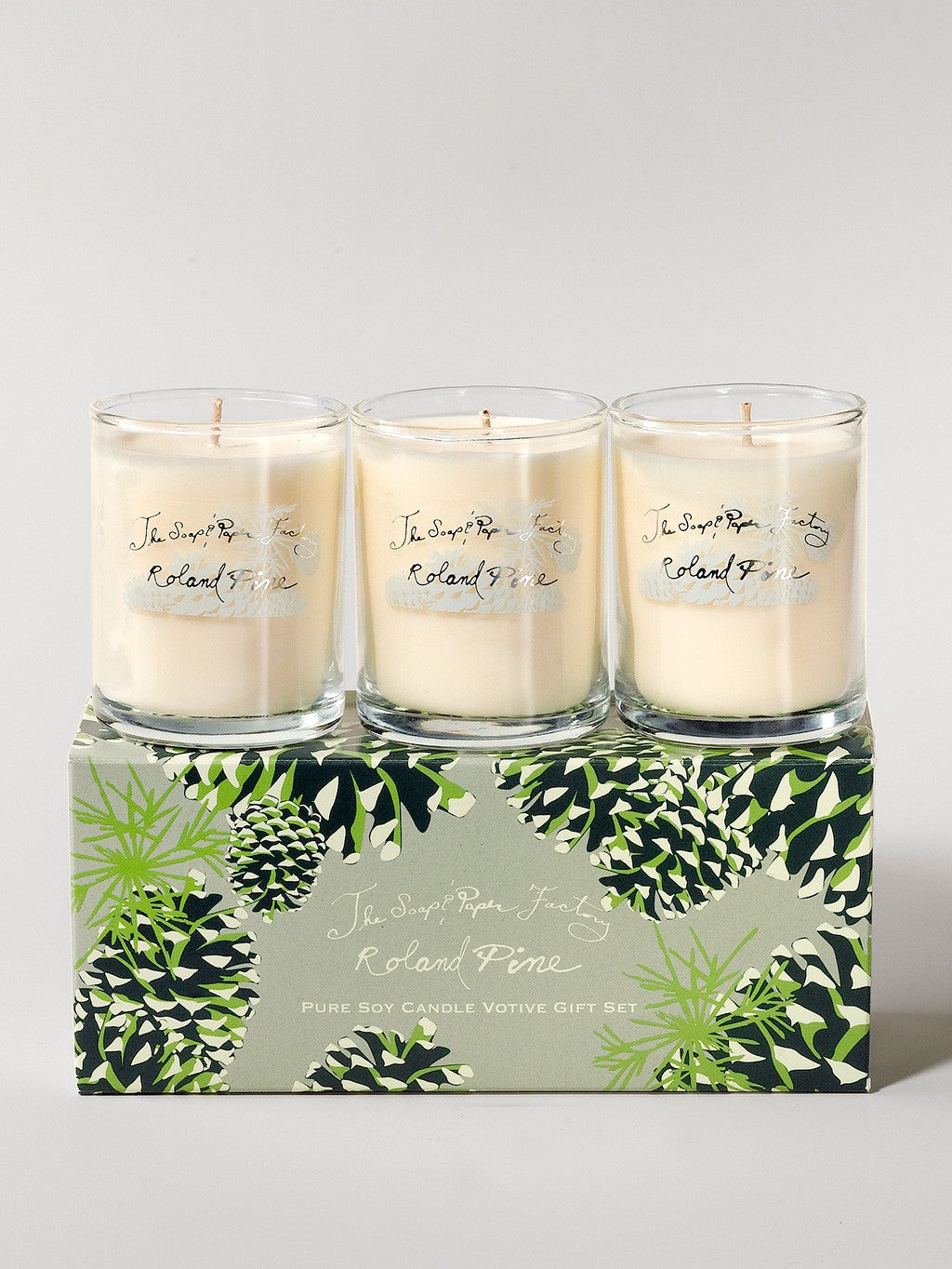 Roland Pine 3 Votive Candle Set Hickory And Tweed New