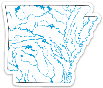 "Arkansas State Waterways Sticker 3.5"" x 3"""