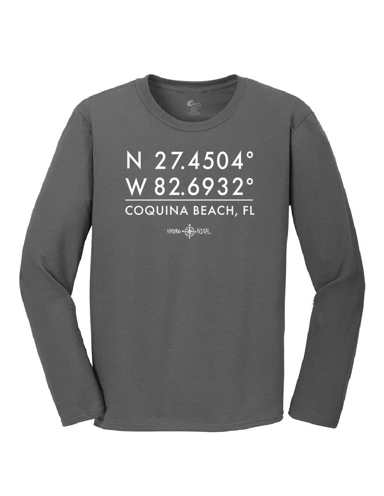Coquina Beach GPS Coordinates Long Sleeve T-Shirt