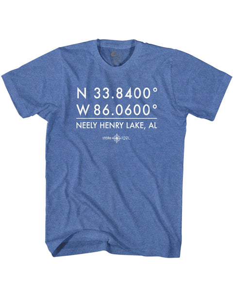 Neely Henry Lake GPS Coordinates T-Shirt