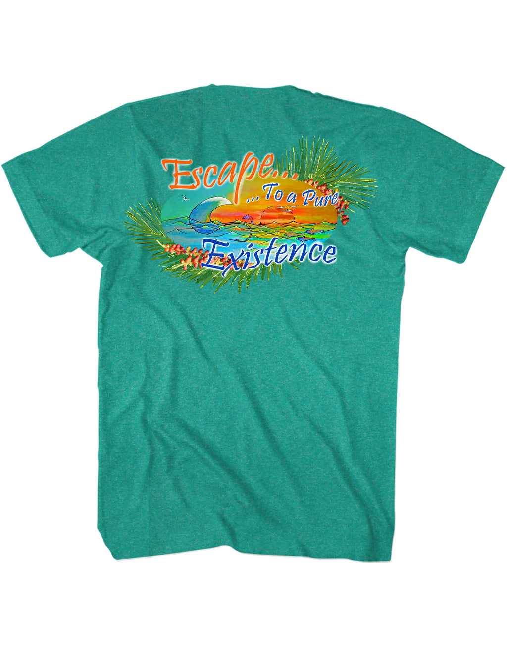 Escape to a Pure Existence Palms T-Shirt Back Design