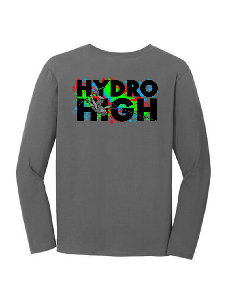 Hydro High Wakeboard Guy Long Sleeve T-Shirt Back Design