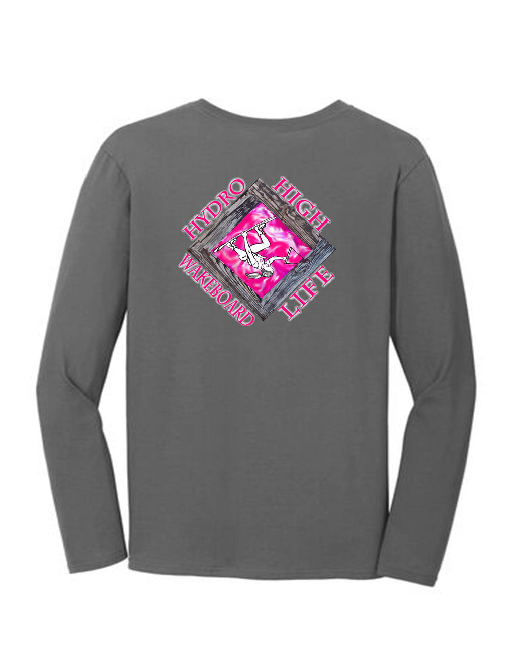 Wakeboarder Girl in Diamond Long Sleeve T-Shirt Back Design