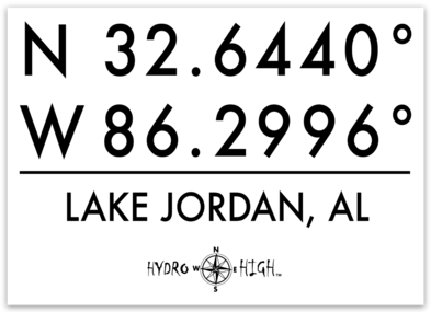 "Lake Jordan GPS Coordinates Sticker 4"" x 2.9"""