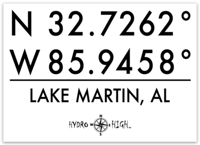 "Lake Martin GPS Coordinates Sticker 4"" x 2.9"""