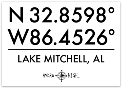 "Lake Mitchell GPS Coordinates Sticker 4"" x 2.9"""
