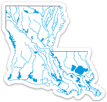 "Louisiana State Waterways Sticker 3.66"" x 3.5"""