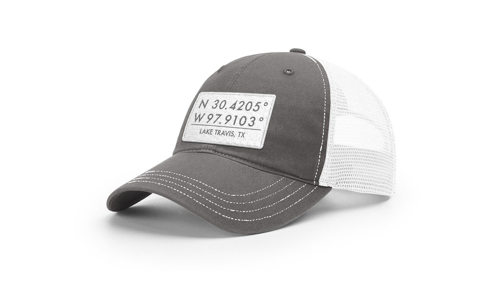 Lake Travis GPS Coordinates Trucker Hat