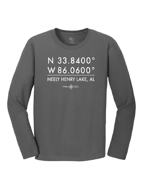 Neely Henry Lake GPS Coordinates Long Sleeve T-Shirt