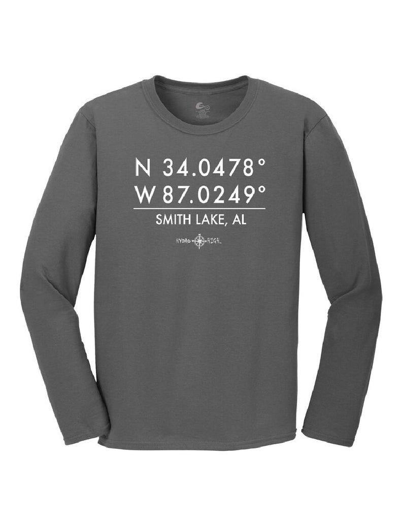 Smith Lake GPS Coordinates Long Sleeve T-Shirt