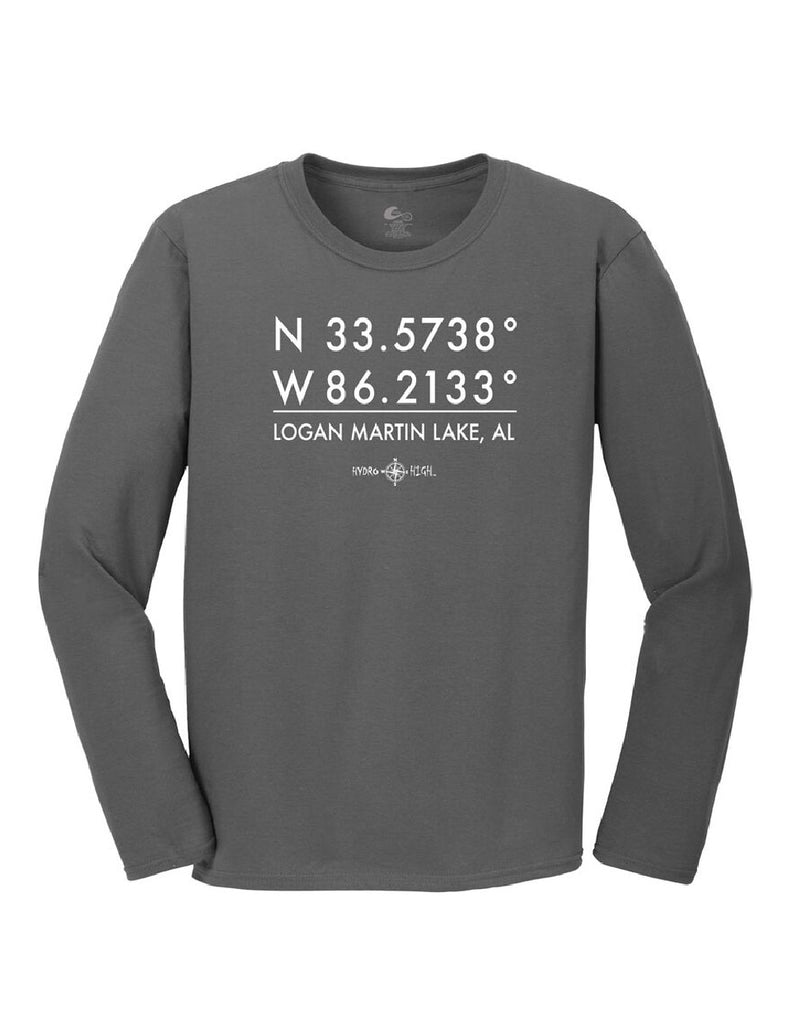 Logan Martin Lake GPS Coordinates Long Sleeve T-Shirt