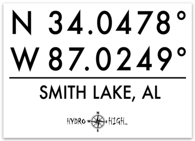 "Smith Lake GPS Coordinates Sticker 4"" x 2.9"""