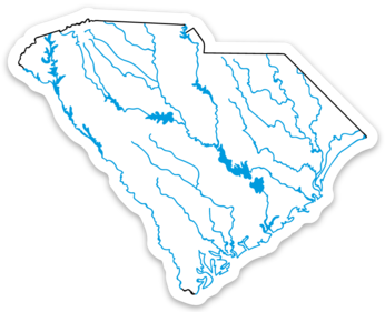 "South Carolina State Waterways Sticker 3.5"" x 2.82"""