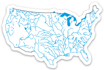 "USA State Waterways Sticker 3.5"" x 2.31"""