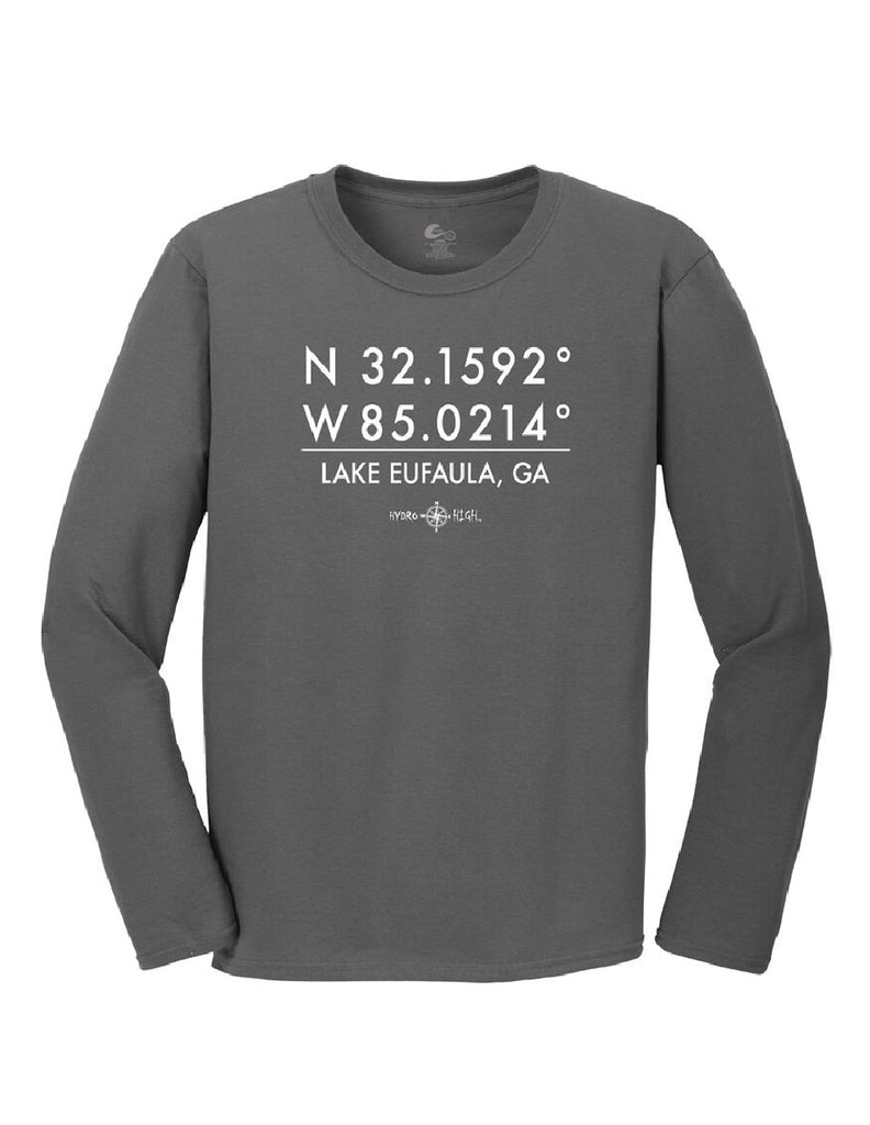 Lake Eufaula, GA GPS Coordinates Long Sleeve T-Shirt