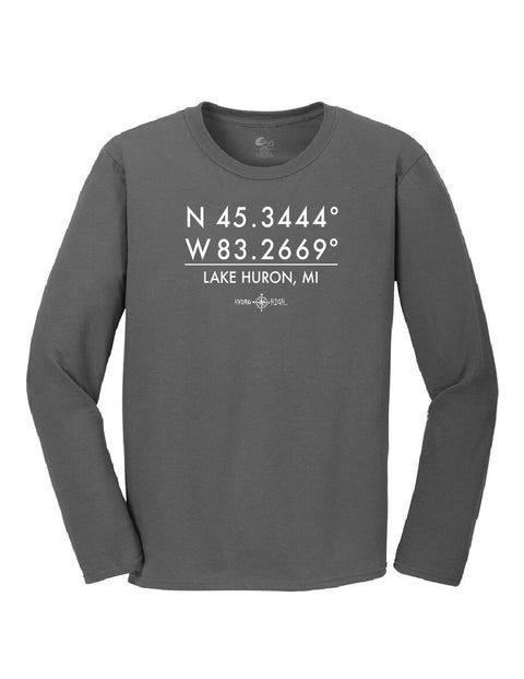 Lake Huron GPS Coordinates Long Sleeve T-Shirt
