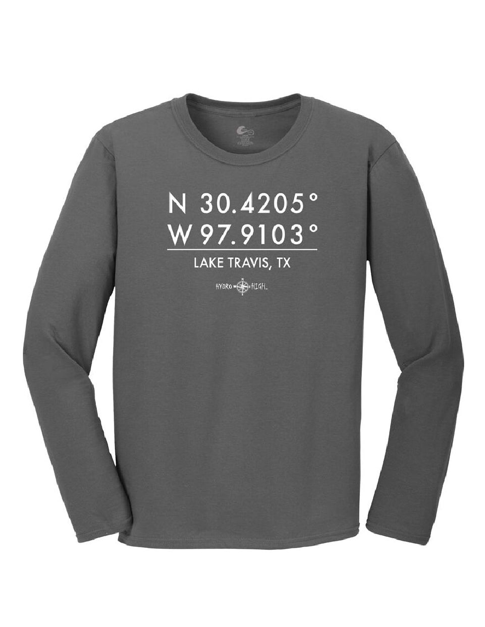 Lake Travis GPS Coordinates Long Sleeve T-Shirt