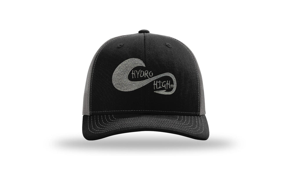 Hydro High Hook & Wave Logo Charcoal & Black Trucker Hat