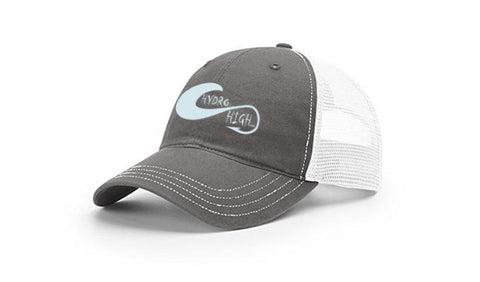 Hydro High Light Blue Hook & Wave Logo Trucker Hat