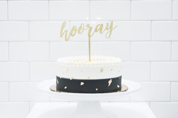 Wood 'hooray' Cake Topper