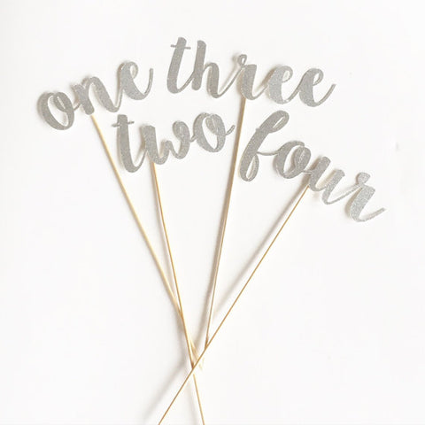 Calligraphy Gold or Silver Glitter Table Numbers for Wedding or Special Event.