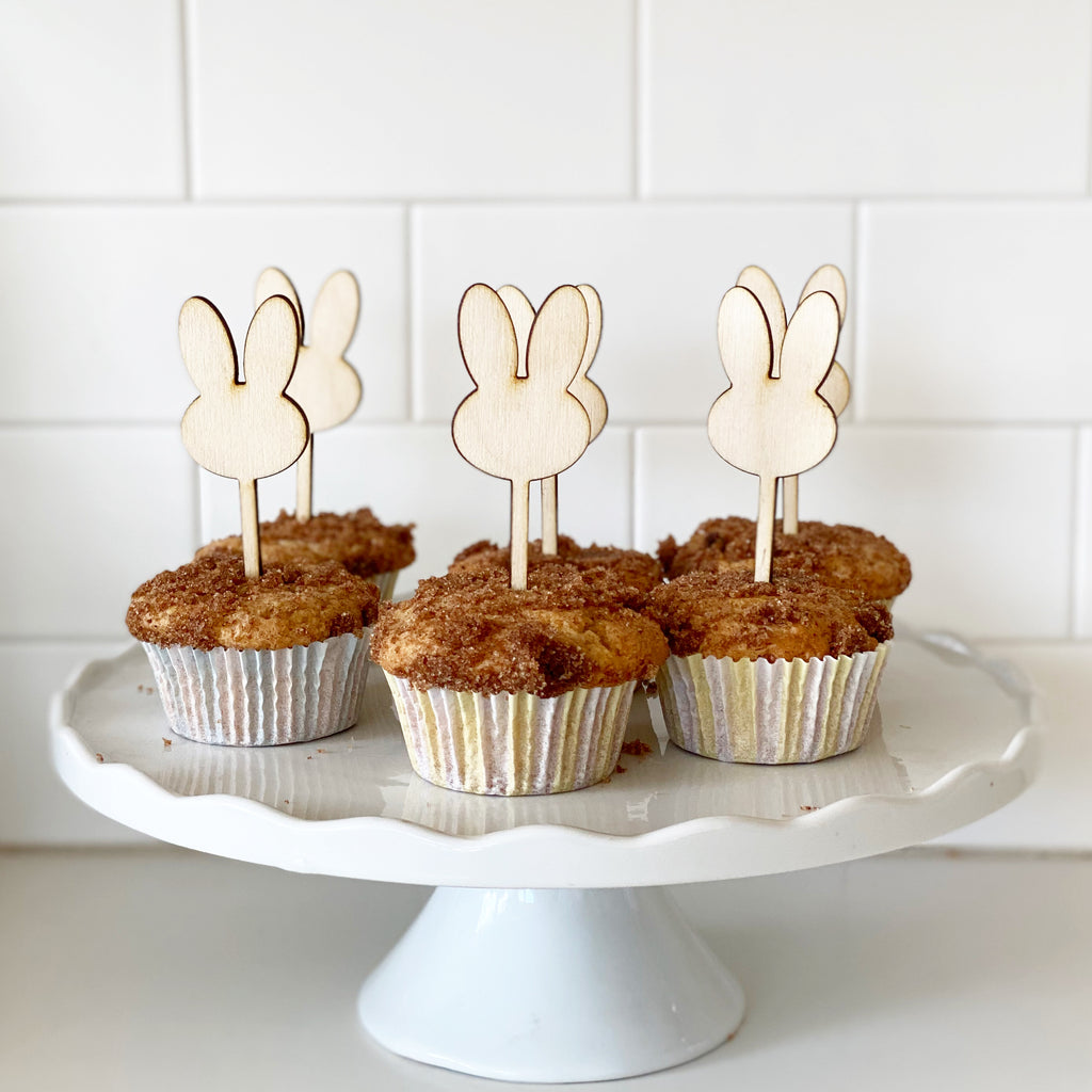 Wood Bunny Cupcake Toppers