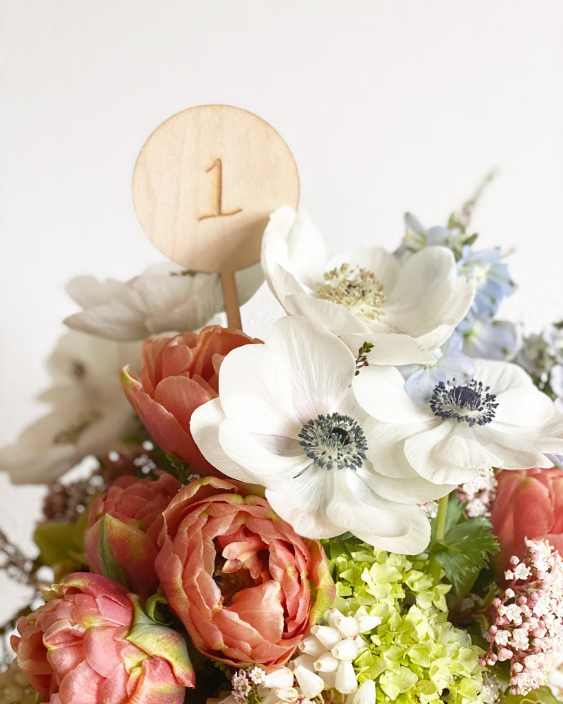 New! Engraved Table Number Floral Pick