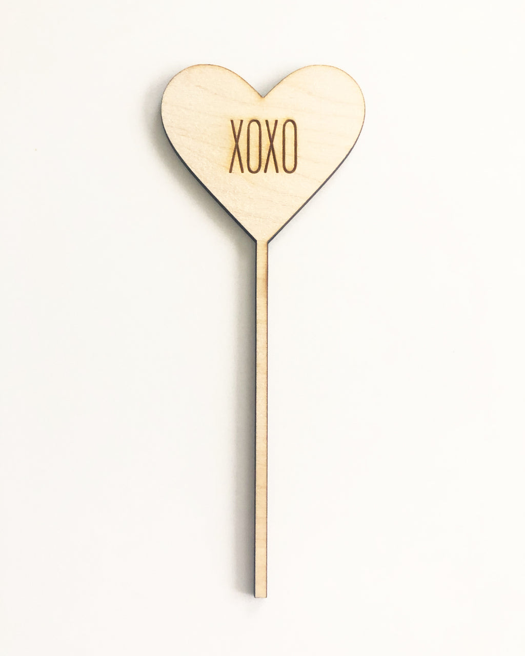 Engraved Wood Heart Cake Topper