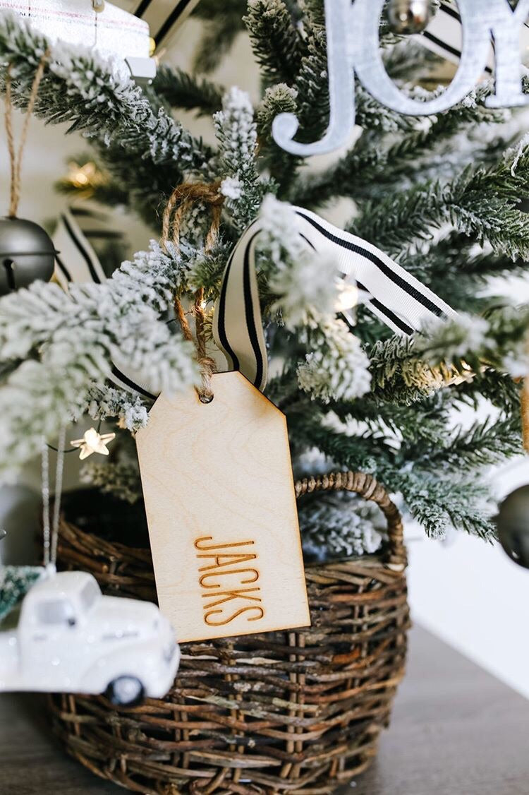 Custom Engraved Wood Stocking and Gift Tag