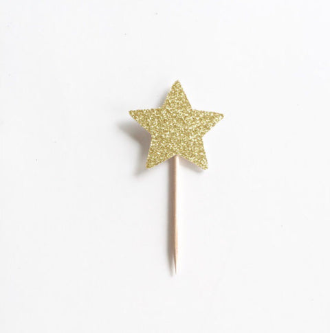 12 Glitter Star Cupcake Toppers