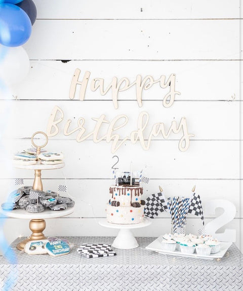 Wood 'Happy Birthday' Banner
