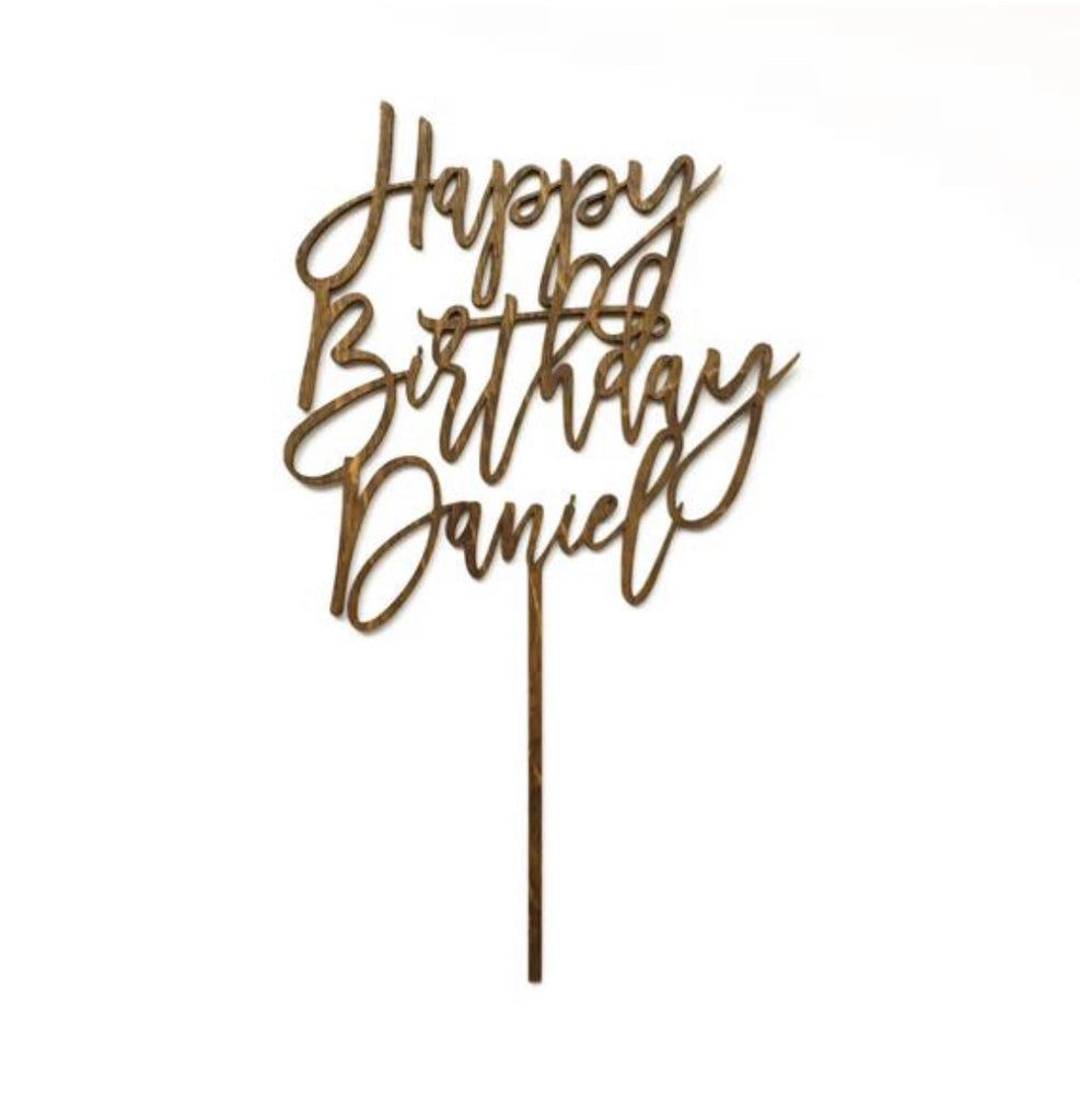 Custom Wood 'Happy Birthday' Cake Topper for Birthday Celebration