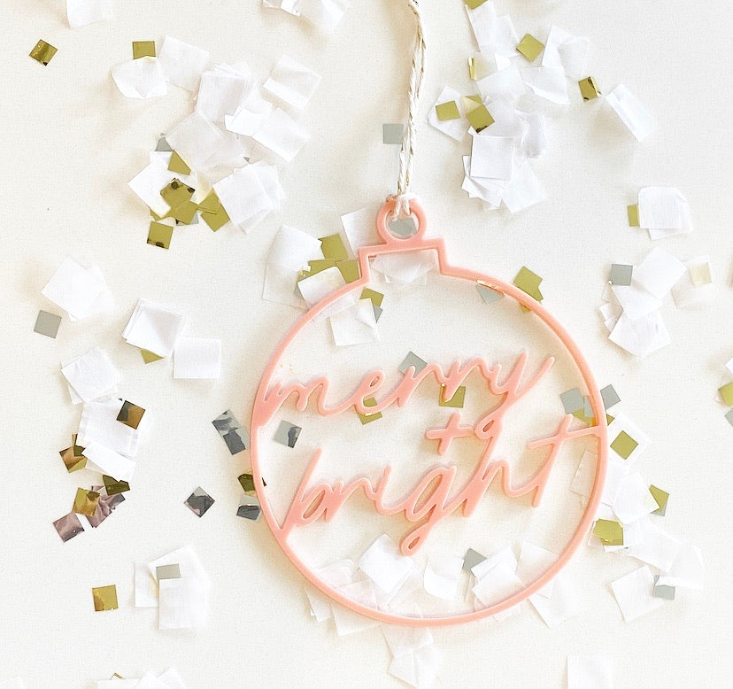 Merry + Bright Acrylic Cutout Ornament and Gift Tag