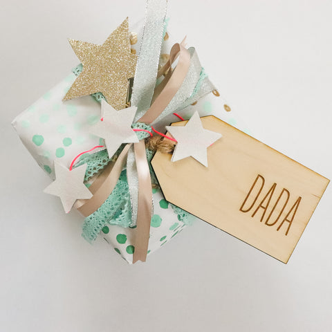 Wood Engraved BEST DAD EVER or BEST MOM EVER Gift Tag