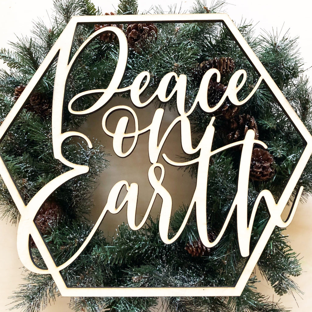 Peace on Earth Wood Cutout Sign