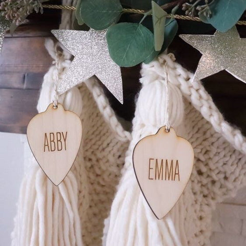 Custom Wood Engraved Ornament and Gift Tag