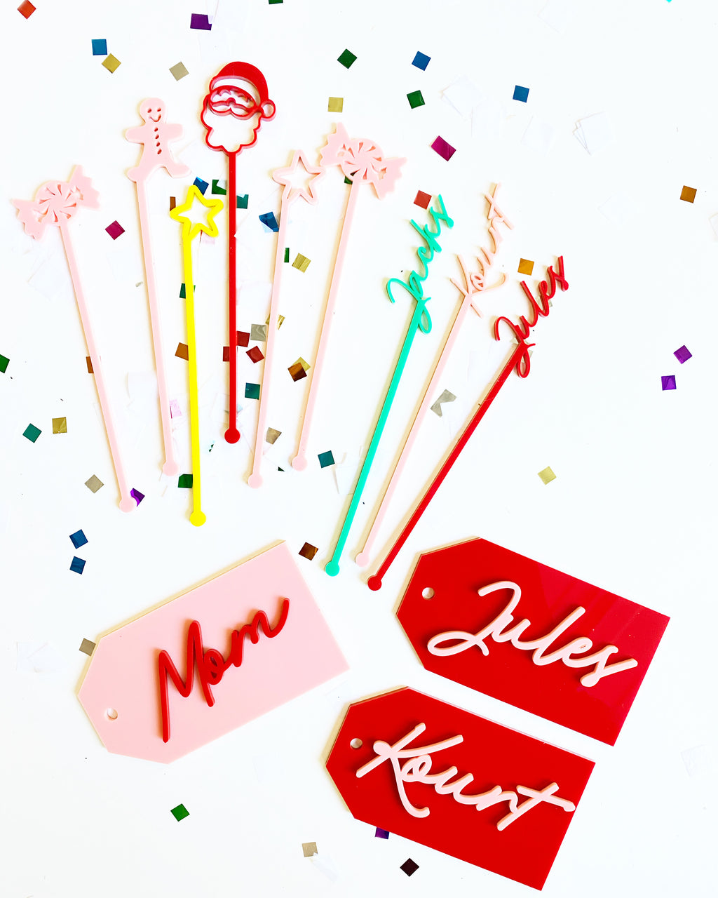 Merry + Bright Custom Name Acrylic Drink Stirrers