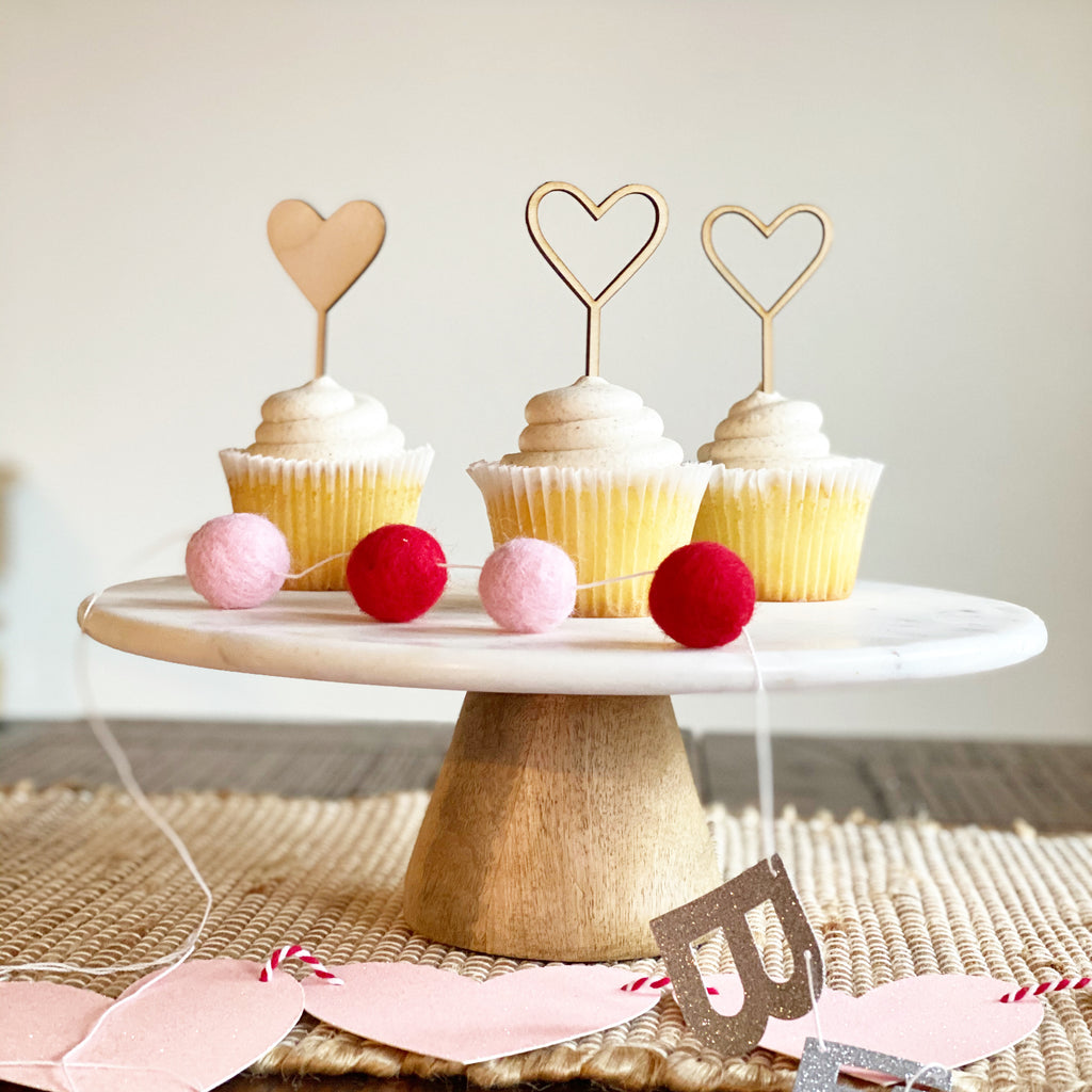 Wood Heart Cupcake Toppers