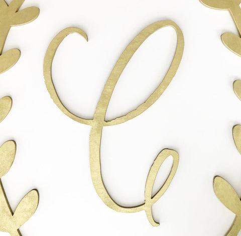 Custom Script Initial + Wreath Wood Sign