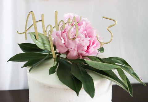Wood Script Name Cake Topper