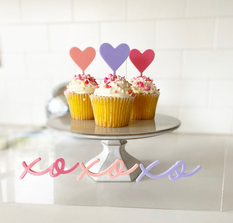 Acrylic Heart Cupcake Toppers