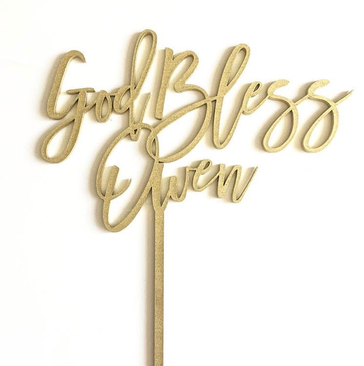 Custom God Bless Cake Topper