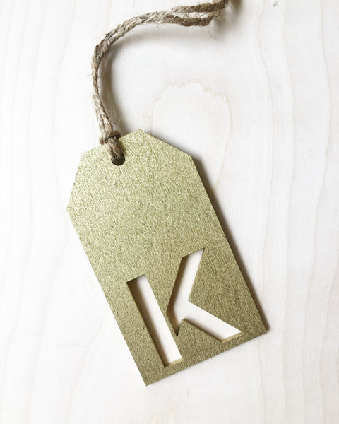 Custom Initial Cutout Wood Gift Tag