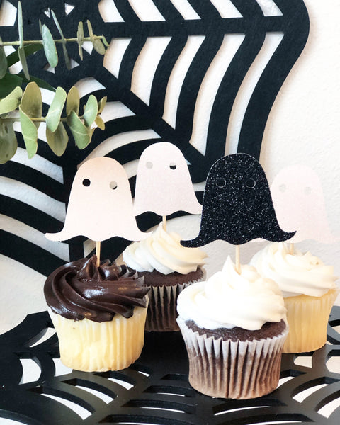 12 Glitter Ghost Cupcake Toppers