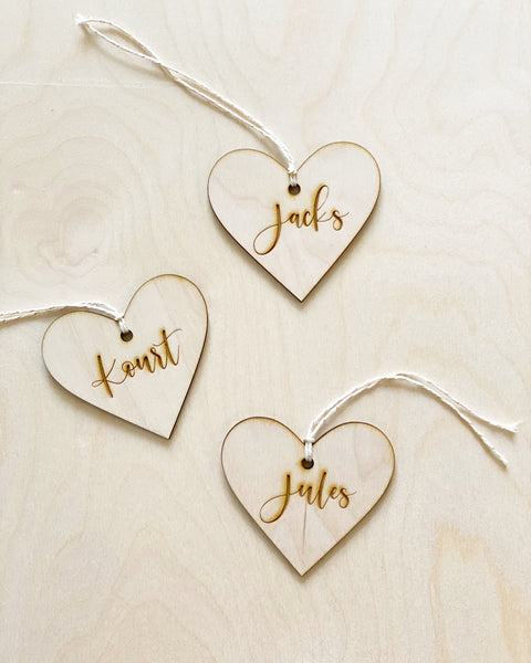 Custom Engraved Heart Gift Tag