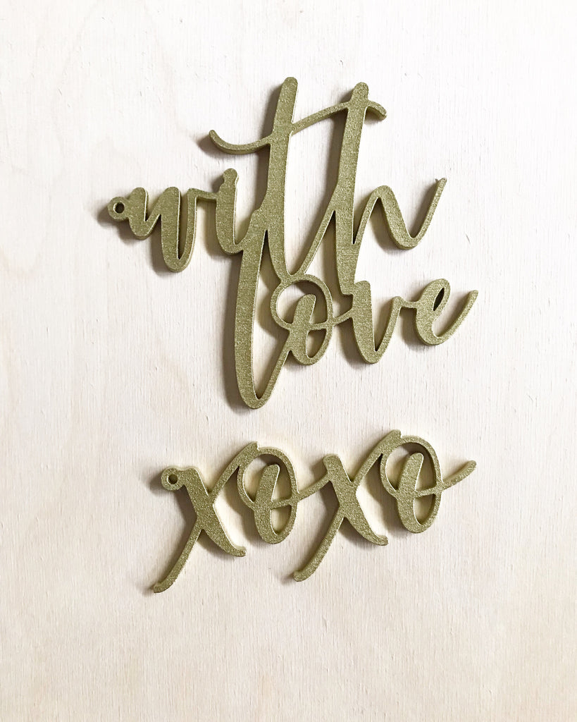 Wood 'xoxo' or 'with love' Cutout Gift Tags