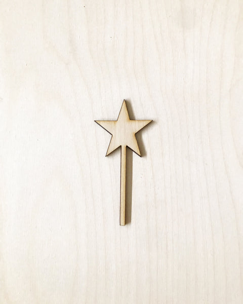 Wood Star Cupcake Toppers