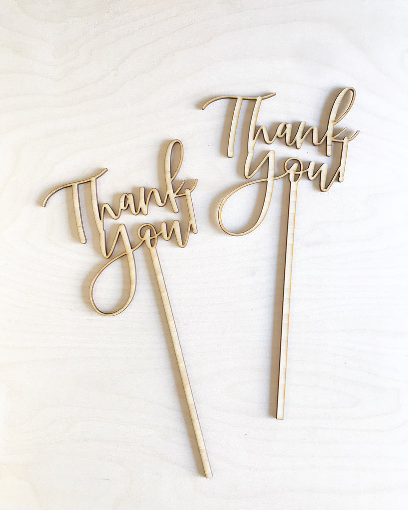 "Wood ""Thank you!"" Floral Pick"