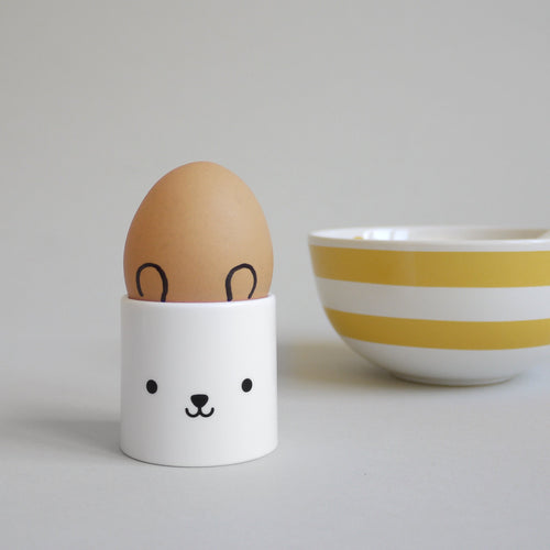 Egg cup Bear double sided - White